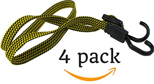 HeavyWeight Flat Bungee Cords 4 Pack with Bonus 4 Ball...