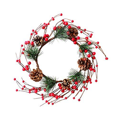 FINIVE Anillo de corona de mimbre de Navidad, coronas artificiales de fruta, adorno colgante para puerta delantera, guirnaldas de Navidad, decoración para el hogar, cocina, pared ventana 2#
