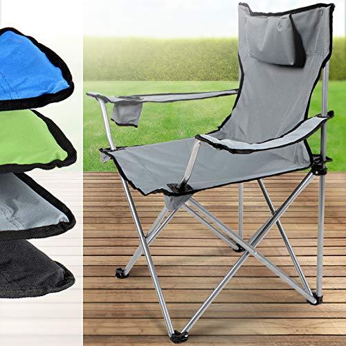 Miadomodo Sedia da campeggio camping giardino pieghevole con poggiatesta 52/50/82 cm colore grigio