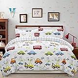 Brandream Kids Construction Bedding Set Queen Size Boy Duvet Cover with Pillow Shams Set Truck Bedding Sets Zippered Bedding