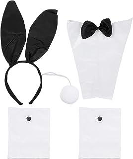 EXCEART 4Pcs Bunny Kostuum Accessoires Polyeste Konijn Oor Hoofdband Bow Tie Handboeien Staart Voor Volwassen Meisje Paar