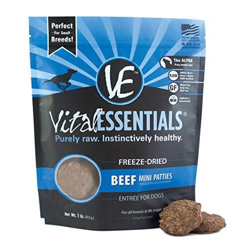 Vital Essentials Freeze-Dried Grain-Free Beef Mini Patties Dog Food, 1 lb.