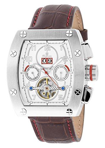 Burgmeister Armbanduhr für Herren mit Analog Anzeige, Automatik-Uhr und Lederarmband - Wasserdichte Herrenuhr mit zeitlosem, schickem Design - klassische Uhr für Männer - BM358-115 Lucan