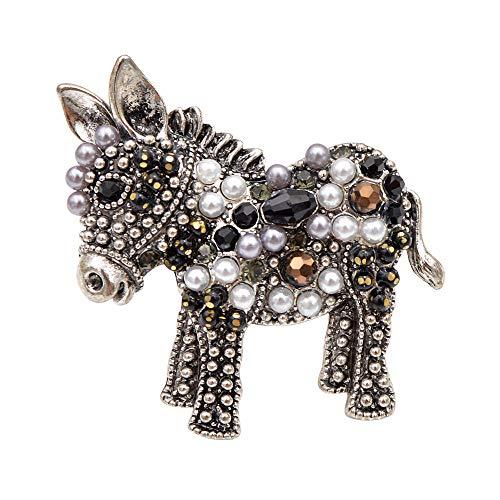 GLKHM Ladies Vintage Brooch Donkey Brooches Fashion Unisex Animal Pin Accessories-1_1.5 * 2.2Cm