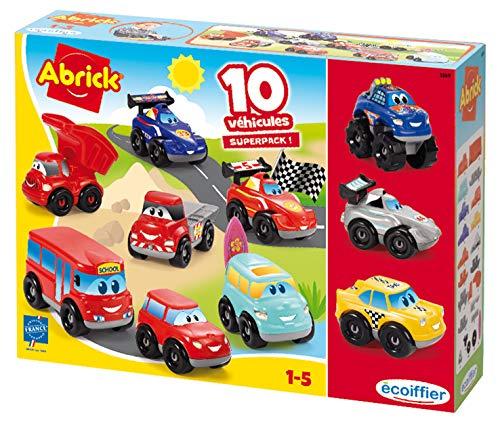 Jouets Ecoiffier – 3269 - Coffret 10 véhicules Fast Cars Abrick – Jeu de construction pour enfants – Dès 18 mois – Fabriqué en France