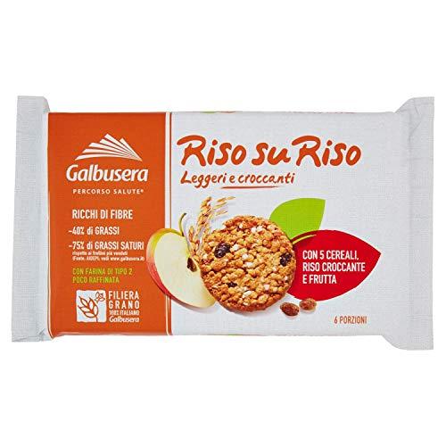 Galbusera Riso Su Riso, Biscotto con Cereali, Riso e Frutta, 6 x 40g