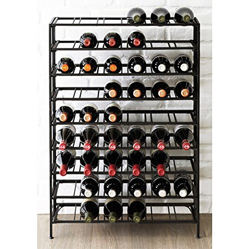 54 Bottle Connoisseurs Deluxe Large Foldable Black Metal Wine Rack Cellar Storage Organizer Display Stand
