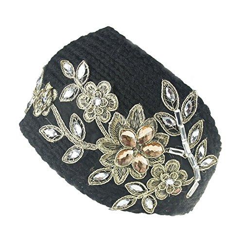ikulilky Mujeres pelo banda Invierno Cálidos turbante Flores punto Cinta Ganchillo headw Rap con joyas Pañuelo de diamante, lana, negro, talla única