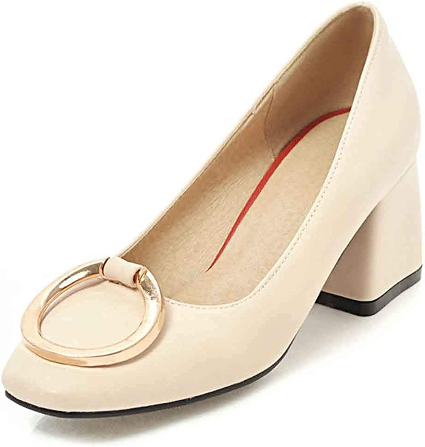 Unm Women's Square Toe Pumps shoes - Comfy Outdoor Block Middle Heels - Dressy Slip On Low Cut Party shoes