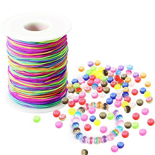 LEBENSWERT Elastische Schnur (1mm) Regenbogen Perlenschnur mit 100 Stück Perlen zum Auffädeln (8mm) DIY Handwerk Beading Cord String Kinder Geschenk perlen für Armbänder Haarband Halskette