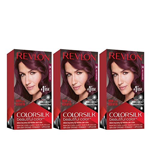 REVLON Colorsilk Beautiful Color Permanent Hair Color with 3D Gel Technology & Keratin, 100% Gray Coverage Hair Dye, 34 Deep Burgundy, 4.4 oz (Pack of 3)