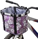 Sgualie Bike Basket Mascotas, Perros y Gatos Portaequipajes para Exteriores Bolso de Mano Manillar Delantero Correa para el Hombro Robusto Estable (Negro), púrpura, 35 * 27 * 26cm