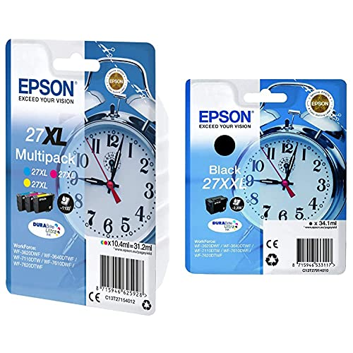 Epson C13T27154022 Inchiostro, Multicolore & 27 Durabrite Ultra Ink- Cartuccia D'Inchiostro, Xxl, Nero (Black)
