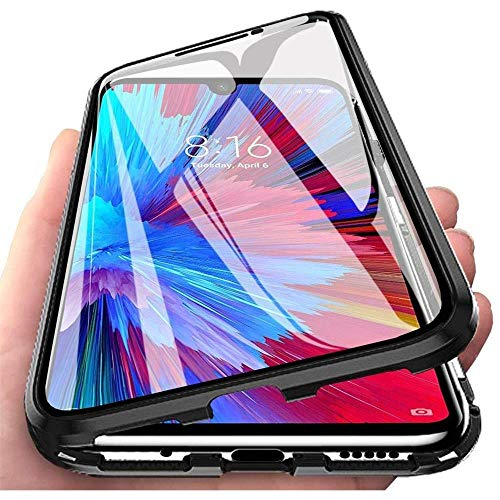 Hülle für Samsung Galaxy A41, Magnetische Adsorption Handyhülle 360 Grad Schutz Aluminiumrahmen mit Gehärtetes Glas, Starke Magneten Stoßfest Metall Flip Case Cover - schwarz