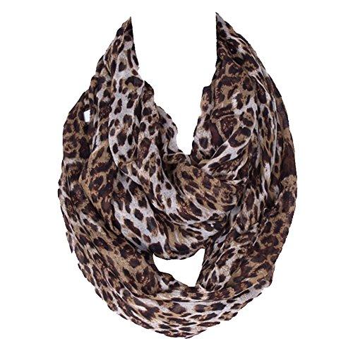 Tenchif Bufanda de leopardo de lazos de Infinity de las mujeres
