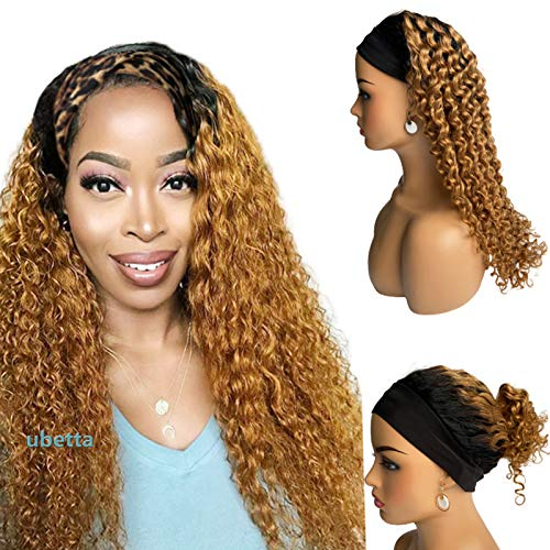 22 Inch Headband Scarf Human Hair Wigs #1B27 Glueless Brazilian Virgin Remy Hair None Lace Front Wigs Deep Wavy Ombre Human Hair Machine Made Wigs with Headband Attached for Women 150% Density