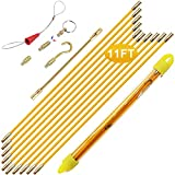Boeray 11' Fiberglass Running Electrical Wire Cable Pulling Fish Tape Kit with 5 Different Attachments and Fish Tape Tool in a Carrying Case