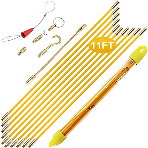 Boeray 11' Fiberglass Running Electrical Wire Cable Pulling Fish Tape...