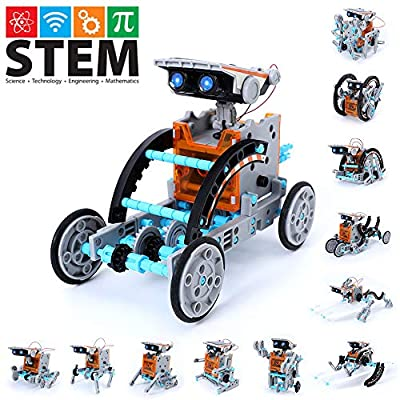 Stem Toys Kit 12 in 1 Solar Robot Kit Educational STEM Learning Science Vehicle Toys, 190 Pieces DIY Kit Working Solar Powered Motorized Engine and Gears,Stem Robot Building Kit Toys for 8+ year olds