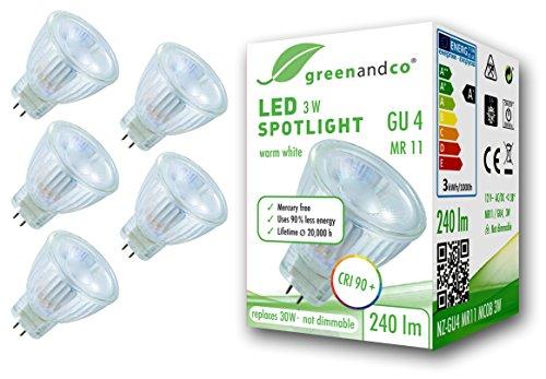 5x Spot a LED greenandco® IRC 90+ GU4 MR11 3W (equivalente spot alogeni 30W) 240lm 3000K (bianco caldo) SMD LED 38° 12V AC/DC, nessun sfarfallio, non dimmerabile