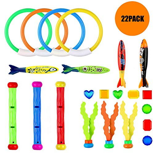 LAMASTON 22 Piece Bath Toys Diving Toys Pool Toys, Diving Ring Rope Head Octopus Diving Stick and Underwater Treasure Gift Box Set Bathtub Bathroom Pool Bath Time, Suitable for Over 3 Years Old