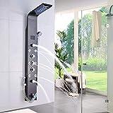 Huin Mampara de ducha LED de acero inoxidable con función de bidé, indicador de temperatura de entrada de la bañera y 8 chorros de masaje
