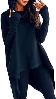 Womens Loose Casual Pockets Long Sleeve Hoodies Asymmetric Hem Sweatshirts