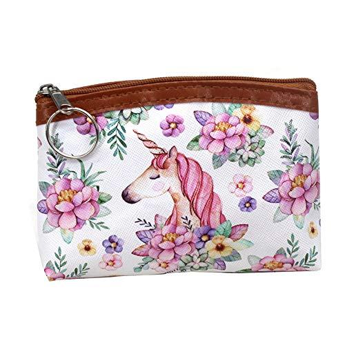 Qinlee Mini Geldbörse Kinder Portemonnaie Kartentasche Einhorn Drucke Coin Purse Mädchen Münztüte Münzbörsen (Pink Einhorn)
