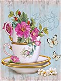 HAO Pintura por números Taza de té Vintage con Mariposa Floral Pintura acrílica DIY para niños y Adultos Principiante con Pinceles Pinturas Lienzo 40x50cm Sin Marco