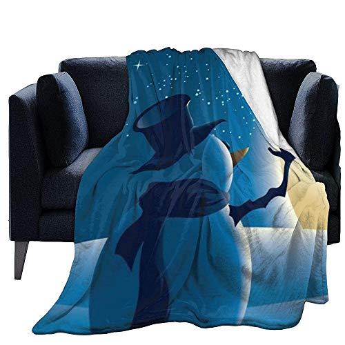Blanket Warm Fleece Throw Santa Snowman Print Ultra-Soft Fluffy Warm Solid Bed Throws For Soft Microfiber