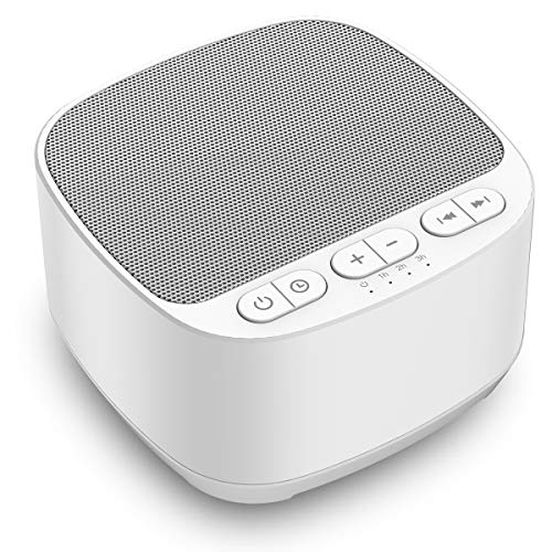 Magicteam Sleep Sound White Noise Machine with 40 Natural Soothing Sounds and Memory Function 32 Levels of Volume Powered by AC or USB and Sleep Timer Sound Therapy for Baby Kids Adults (White)
