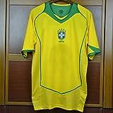 KCPERMAN 2004 Retro Jersey de fútbol Adecuado para Brasil Home Magic Quartet Ronaldo Ronaldinho Kaká Adriano Soccer Jersey, Número y Nombre Personalizados, Camiseta de Traje Customized Number-XXL