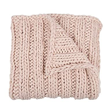 Kate and Laurel Chunky Knit Throw Blanket, Soft Pink