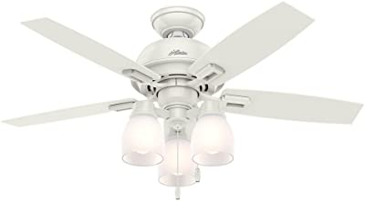 "Hunter Donegan Indoor Ceiling Fan with LED Lights and Pull Chain Control, 44"", Bronze/Dark"