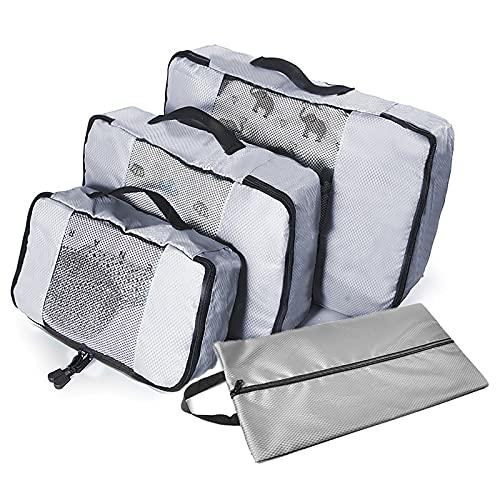 TTWLJJ Cubos de Embalaje para Viajes,Organizador de Equipaje,4en 1 Set Impermeable Organizadores de Viaje para Maletas,3 Cubos de Embalaje 1 Saco de Zapatos,Gris
