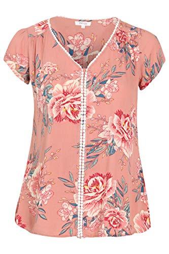 PAPRIKA Damen große Größen Viskose-Bluse mit Blumen-Print und Häkelkante V-Ausschnitt Kurze Ärmel