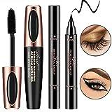 4D Silk Fiber Eye Lash Mascara With Eyeliner Stamp, Liquid Extension, Best for Eyelash Thickening & Lengthening, Long Lasting Waterproof, Natural & Non-Toxic Hypoallergenic Ingredients (Black)
