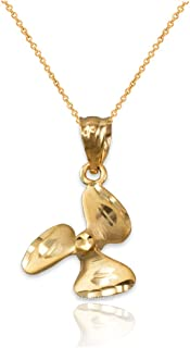 10K Yellow Gold Satin DC Rotor Propeller Necklace