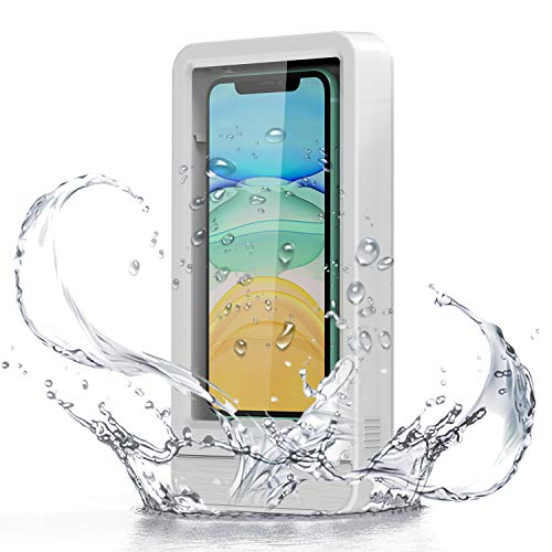 Shower Phone Holder, Fansteck Wall Phone Holder Mount with Reusable Nano Adhesive Strip, for Bathroom,Shower,Kitchen,Make up and More, Compatible with Mobile Phones Under 6.9 inches (White)