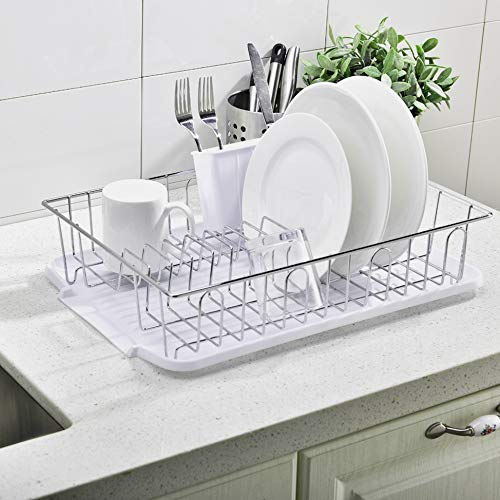POPILION Sturdy Kitchen Sink Side Chrome Draining Dish Rack, With White Cutlery Holder and Drainboard