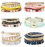 Subiceto 6 Set Bohemian Stackable Bead Bracelets for Women Multilayered Stretch Bangles Charm Pendant Bracelet Set