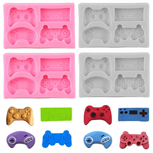4 Pack Game Controller Fondant Mold - Silicone Video Gamepad Mold, Video Game Controller Molds for Candy, Chocolate, Cupcake Topper, Epoxy Resin Casting Keychain, Clay