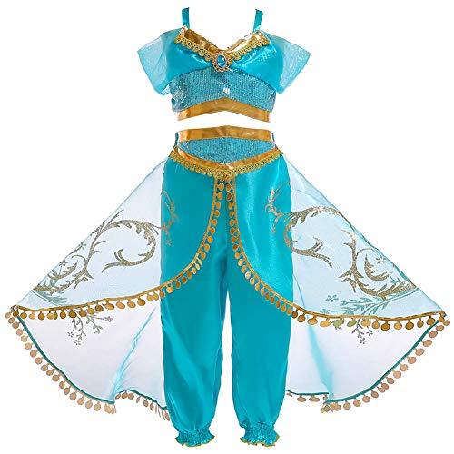 FYMNSI Mädchen Aladdins Göttin Jasmin Kostüm Prinzessin Karneval Cosplay Weihnachten Halloween Party Verkleidung Kinder Blau Pailletten Bauchfrei Top Hose Set Klassisch Ankleiden Outfit 5-6 Jahre