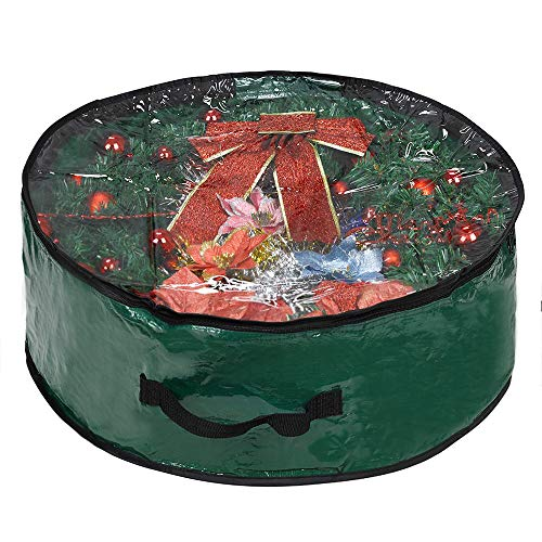 ProPik Xmas Wreath Storage Bag 36' - Garland Holiday Container with Clear Window - Tear Resistant Fabric - 36' X 36' X 8' (Green)