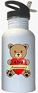 Happy 43rd Anniversary White Stainless Steel Water Bottle Straw Top