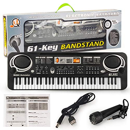 SSSabsir 61 Keys Kids Piano Electronic Multifunction Keyboard Piano Musical Instrument USB cable