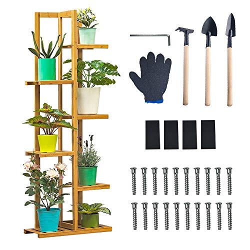 Weychen Scaffale Porta-fiori in Bambù di 6 ripiani per piante, scala per fiori, scaffale in legno, scaffale da giardino, scaffale a scala, per interni, esterni, supporto decorativo