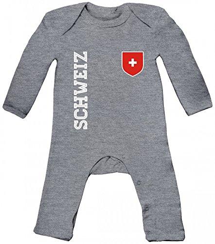 Swiss Fußball WM Fanshirt Gruppen Baby Strampler Langarm Schlafanzug Jungen Mädchen Fan Trikot Schweiz, Größe: 3-6 Monate,Heather Grey Melange