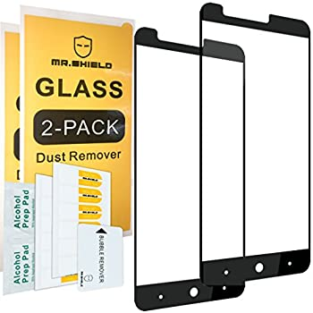 [2-Pack]-Mr.Shield for ZTE ZMAX Pro [Tempered Glass] [FullCover] [Black] Screen Protector with Lifetime Replacement