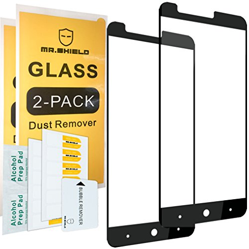 [2-Pack]-Mr.Shield for ZTE ZMAX Pro [Tempered Glass] [Full Cover] [Black] Screen Protector with Lifetime Replacement